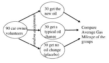 Ovals with arrows & labeled as follows: Left, 90 car owner volunteers, with 3 arrows, & words, random assignment, each pointing to one of 3 middle ovals, 30 get the new oil, 30 get a typical oil change, & 30 get no oil change, placebo, each oval, has arrow pointing to right oval, Compare Average Gas Mileage of the groups.