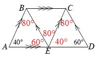 Angle B, E, C, is 80 degrees.