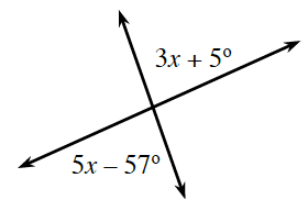 Two intersecting lines.  About the point of intersection are the angles labeled  clockwise: blank, 3 x + 5  degrees, blank and 5 x minus 57 degrees.