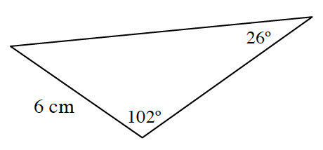 Triangle, labeled as follows: left bottom side, 6 cm, bottom angle, 102 degrees, right top angle, 26 degrees