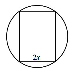Circle with inscribed rectangle, each of the 4 vertices is on a point on each of the 4 quadrants of the circle. The vertical sides are longer than the horizontal sides, bottom side is labeled, 2, x.