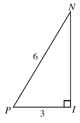 Right triangle, I,N, P, with leg, I,P, labeled, 3, and hypotenuse, P,N, labeled, 6.