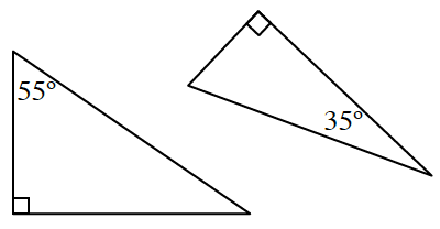 2 right triangles, in different orientation. Left has top angle labeled, 55 degrees. Right has bottom angle labeled, 35 degrees.