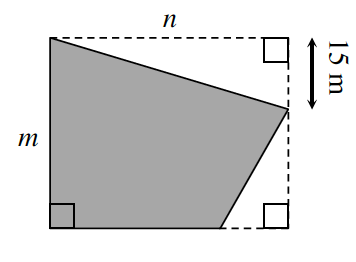 An irregular quadrilateral enclosed by a rectangle. The 2 shapes share the left base, m centimeters. Outside the shaded irregular quadrilateral are 2 right triangles, one at the top right corner with a leg, n, also the length of the rectangle, & another leg, 15, down the right side of the rectangle. The other right triangle is at the lower right corner of the rectangle with a leg, going left from the bottom right rectangle corner, and another leg, up the right side of the rectangle.