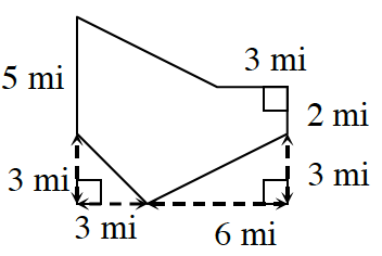 An enclosed figure. Draw down 5 miles and then diagonally down 3 miles and to the right 3 miles. Then draw diagonally up 3miles and to the right 6 miles. Then draw up 2 miles and to the left 3 miles. Finally, draw diagonally up and to the left until the figure is enclosed.