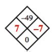 Diamond Problem. Left 7,  Right negative 7,  Top negative 49,  Bottom 0