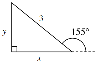 Right triangle, labeled as follows: horizontal leg, x, vertical leg, y, hypotenuse, 3. Exterior angle to horizontal leg, labeled 155 degrees.