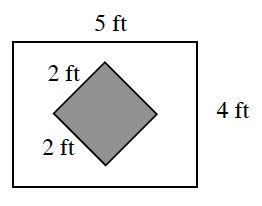 A rectangle with a 45 degree rotated square inside. The length of the rectangle is 5 feet and the width is 4 feet. The length and width of the square inside are both 2 feet.