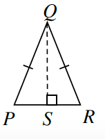 Triangle P, Q, R, has two equal sides.  A line segment is drawn from upper vertex Q perpendicular to side P, R at point S forming a right triangles.