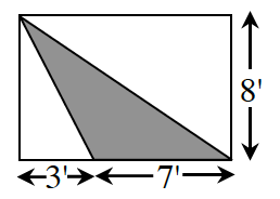 A rectangle with a shaded triangle inside. The triangle's top vertex starts at the rectangle's upper left corner and the sides extend out to the bottom right corner. The base of the triangle is 7 feet. The remaining side length of the rectangle is 3 feet. The width of the rectangle is 8 feet.