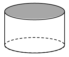 A can shape with the top of the can shaded, and a dashed curve to show the outline of the bottom back side of the can which normally would not be seen.