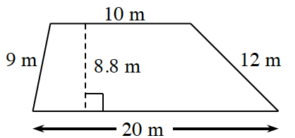 A trapezoid with horizontal, parallel bases: bottom is 20 m, and top is 10 m, and non parallel legs, of 9 m, and 12 meters. A dashed line, labeled 8.8 m, perpendicular to both bases, connects the bases.