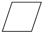 A 4 sided polygon, where the top and bottom sides, are horizontal, and the left and right sides, both slant at the same angle, up and to the right.