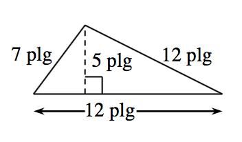 Triángulo con una base de 12 pulgadas. El lado izquierdo mide 7 pulgadas y el lado derecho mide 12 pulgadas. Hay dos triángulos interiores creados por un segmento de recta de 5 pulgadas trazado desde el vértice superior hasta la base en ángulo recto.