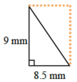 The right triangle of the problem is the lower diagonal half of a rectangle that is 8.5 mm, by 9 mm.