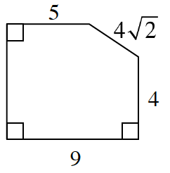 An enclosed figure:  Down 4, left 9, and up an unknown length, right 5, and a diagonal to the start enclosing the figure. Its length is 4 square root of two..  Three angles are right angles.