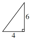 A right triangle with a base of 4 and height of 6.
