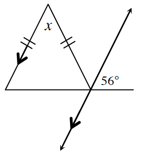 An isosceles triangle where the base line is extended to the right outside of the triangle. A transversal parallel to the left side of the triangle passes through the right base vertex of the triangle. The angle between the two equal sides is labeled x. The angle between the extended side and the transversal is 56 degrees.