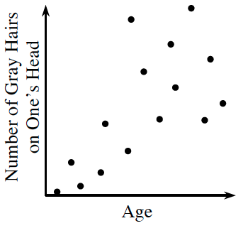 First quadrant scatter plot, x-axis labeled, age, y-axis labeled, Number of Gray Hairs on One's Head. For the first half of the x values, the y values rise to the first third of the y values. In the last half of the x values, the y values are scattered across the top 2 thirds of the y values.