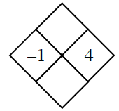 Diamond Problem. Left negative 1, Right 4,  Top blank,  Bottom blank