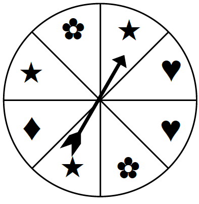 A spinner divided into 8 equal parts with the following symbols, starting at the top moving clockwise: star, heart, heart, flower, star, diamond, star, and flower.