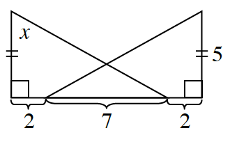 Two right triangles intersect. The triangle at the right has the 90 degree angle at the lower right corner with the right side, 5, and a bottom side, 2, plus 7. The triangle at the left has the 90 degree angle at the lower left corner with the left side, x, and a bottom side, 2, plus 7. Both with sides, labeled, x, and 5, each have 2 tick marks. Both triangles intersect on the length of 7.
