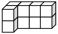 The rectangular prism has 2 vertical layers of the following: 1 row of 4 cubes and a cube connected to the bottom left of the row.