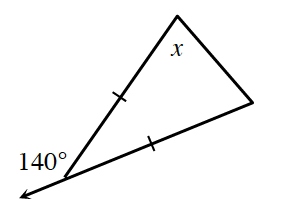 A triangle with the top angle labeled x. The side on the left and the side opposite are both marked with one tick mark . The side opposite of angle x, is extended to the left, creating an exterior angle, of 140 degrees.