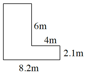An enclosed figure, starting at the upper left corner, right, an unknown amount, down 6 m, right 4 m, down 2.1 m, left 8.2 m, up, an unknown amount, to enclose the figure.