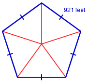 The pentagon is divided into 5 equal triangles from the center point.