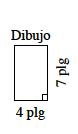 Rectángulo vertical, rotulado Dibujo, con el borde derecho rotulado 7 pulgadas y el borde de abajo rotulado 4 pulgadas.