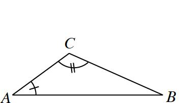 Triangle A, C, B, where angle, A, has 1 tick mark, and angle C, has 2 tick marks.