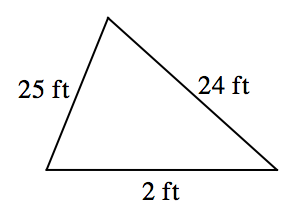 Triangle with sides labeled as follows: left, 25 ft, right, 24 ft, bottom, 2 ft.