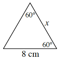 A triangle where two of the angles are 60 degrees.  The side opposite one of the 60 degrees is labeled 8 centimeters. Side, X, is opposite the unknown angle.