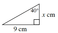 A right triangle with a base of 9 centimeters and height of X centimeters. 40 degrees angle is opposite the 9 centimeter side.