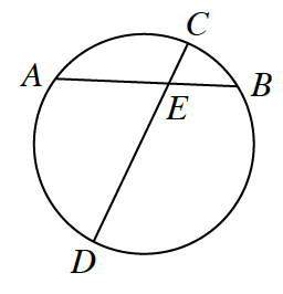 A circle, where a diameter, C D, intersects Chord, A B, at point, e