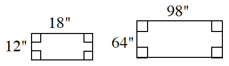 Two rectangles: The rectangle at left has a height of 12 inches and a base of 18 inches. The rectangle at right has a height of 64 inches and a base of 98 degrees.