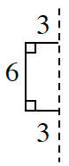 A rectangle: top edge: 3, left edge: 6, bottom edge 3.  The line of reflection is on the right side.