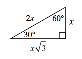 Right triangle labeled as follows: angle opposite vertical leg, 30 degrees, angle opposite horizontal leg, 60 degrees, vertical leg, x, horizontal leg, x Times Square root of 3,  hypotenuse, 2, x.