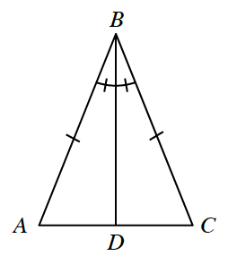 Triangle A,B,C, with line segment from vertex B, to point D, between A, & C, labeled as follows: Angles A,B,D, & C,B,D, each with 1 tick mark, Sides A,B, & B,C, each with 1 tick mark.