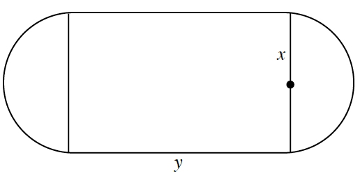 Horizontal rectangle, bottom edge labeled, y, with semi-circles, one on each right & left  edge, with edge as the diameter, radius on right semicircle labeled, x.