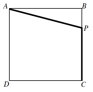 Square, A B C D, with point, P, on side, B C, about 1 fourth of the way from B to C, bold segments from, A to P, & from P to C.