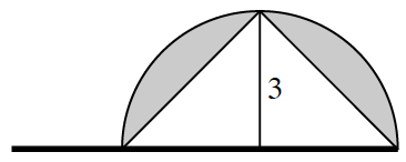 Horizontal segment, with semicircle above, with it's diameter on the right 2 thirds of the segment, with segments connecting the left endpoint of diameter, the highest point of the semicircle, the right endpoint of diameter, & the center of the diameter, creating 2 right triangles, semicircle area outside the triangle is shaded, & vertical segment is labeled 3.