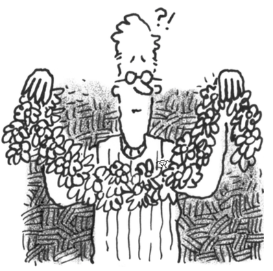 Man holding up flowers