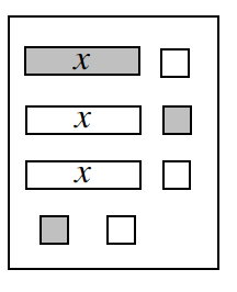 Expression Mat with the following tiles in rows: Row 1: 1 positive, x, & 1 negative unit. Row 2: 1 negative, x, and 2 positive units. Row 3: 1 negative, x, and 1 negative unit. Row 4: 1 positive unit, 1 negative unit.