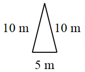 An isosceles triangle where the sides are labeled in meters: 10, 10, and 5.
