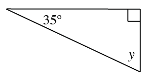 A triangle with angles  labeled: 35 degrees, 90 degrees, and y.