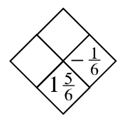 Diamond Problem. Left blank, Right negative 1 divided by 6, Top blank, Bottom 11 divided by 6