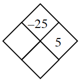 Diamond Problem. Left blank, Right 5, Top negative 25,  Bottom blank