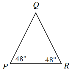 Triangle, P,Q,R, labeled as follows: angle, P, 48 degrees, angle, R, 48 degrees.